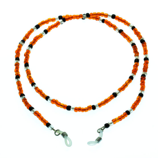 Fita de óculos de missangas laranja/preto