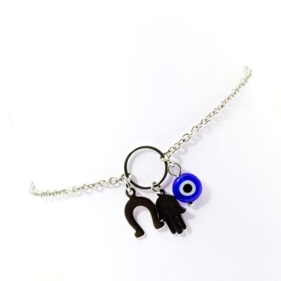Pulseira de pé com amuletos - olho grego