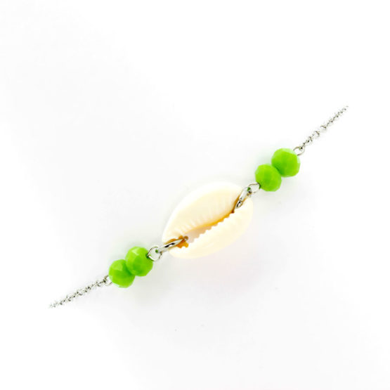Pulseira de pé búzio - cristais verdes