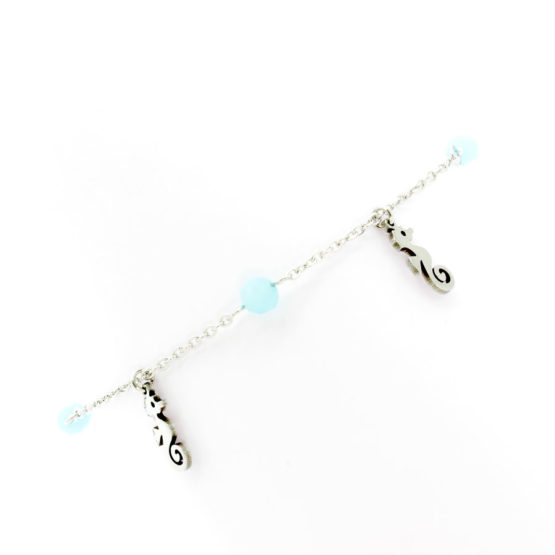 Pulseira de pé cavalos marinhos cristais azuis
