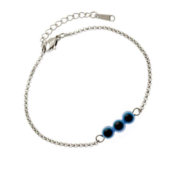 Pulseira aço com Olhos Gregos de Murano azul