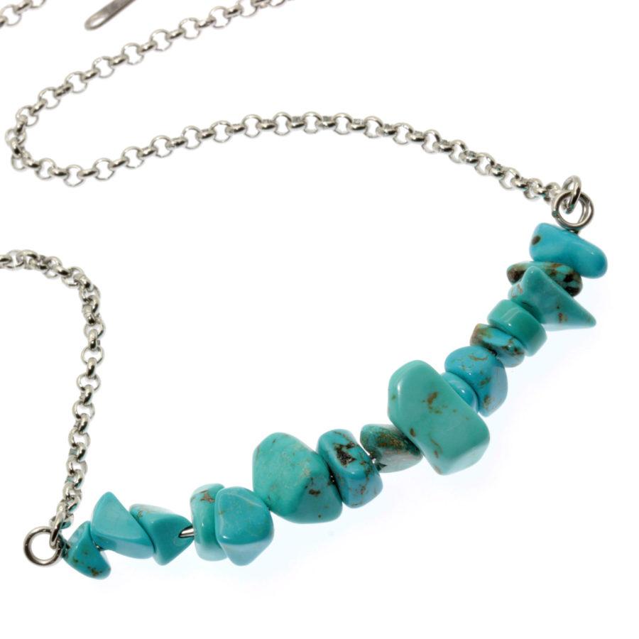 Colar de aço com pedras naturais turquesa azul