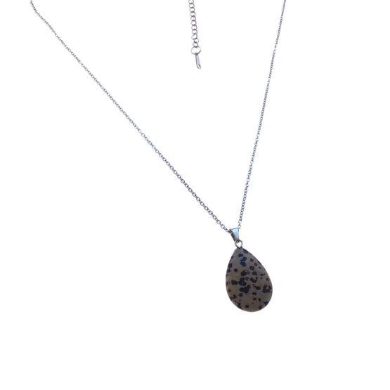 Colar aço com pedra natural Obsidiana Dálmata