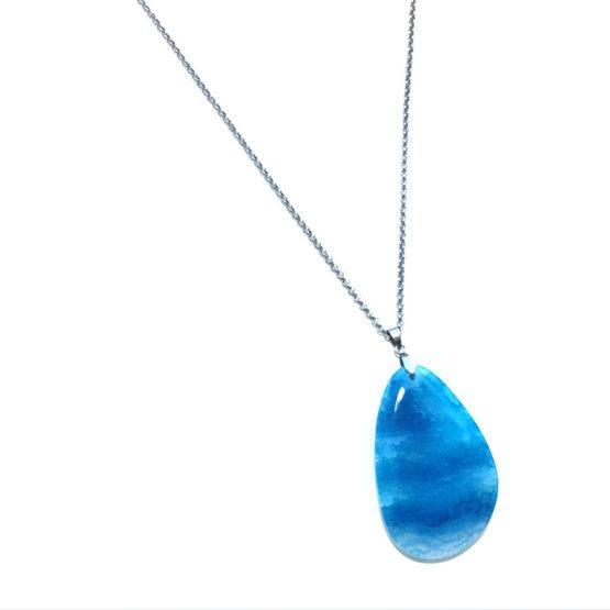 Colar aço com pedra natural ágata azul