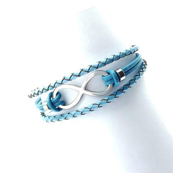 Pulseira de couro azul tripla - Infinito